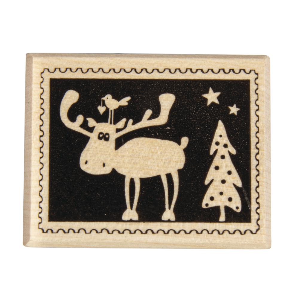 Stempel Weihnachtspost: Elch, 4x5cm