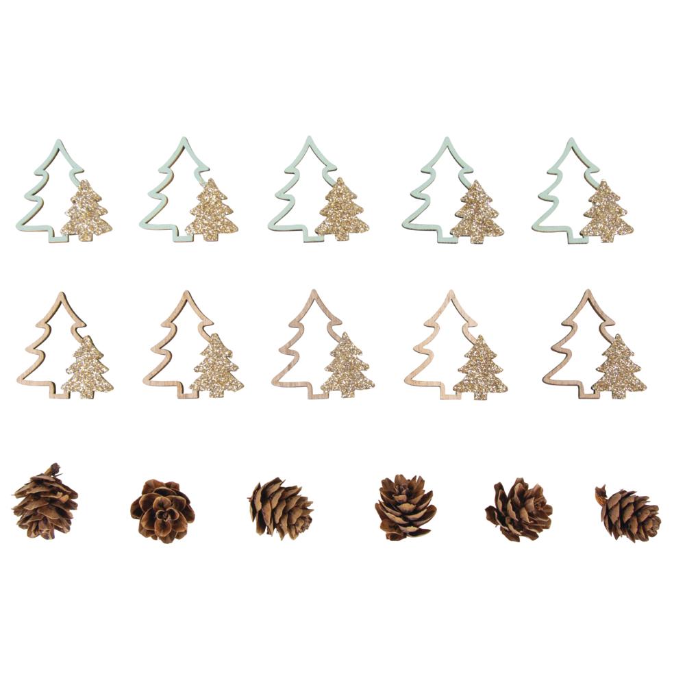 Holz Streuteile Mix Tannenbäume+Zapfen, 2-4cm sort., Box 16Stück