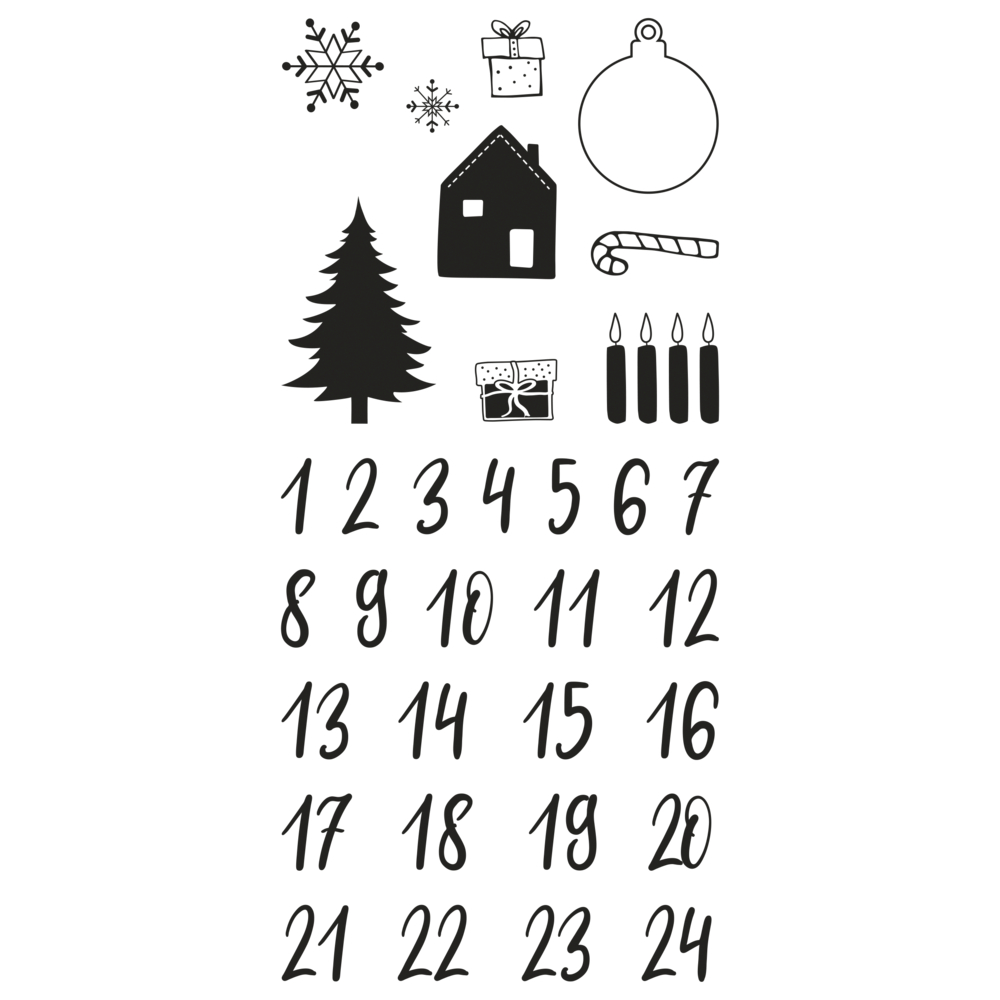 Clear Stamps - Adventskalender Classic, 97x205mm, 33 Motive, SB-Btl. 1Bogen