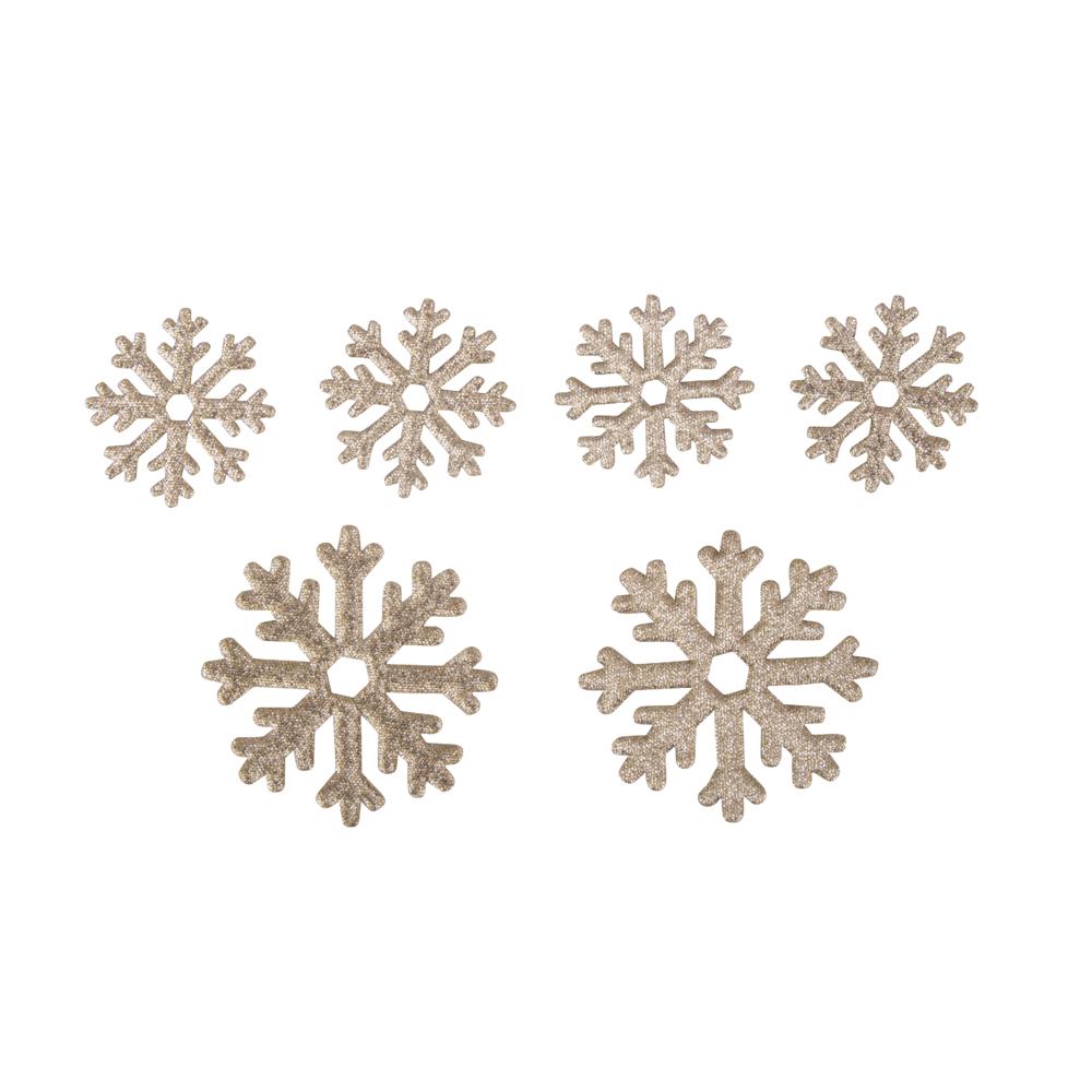 Streuteil: Schneeflocke, 4x 3,2cm + 2x 5,2cm, SB-Btl 6Stück, kaschmir gold