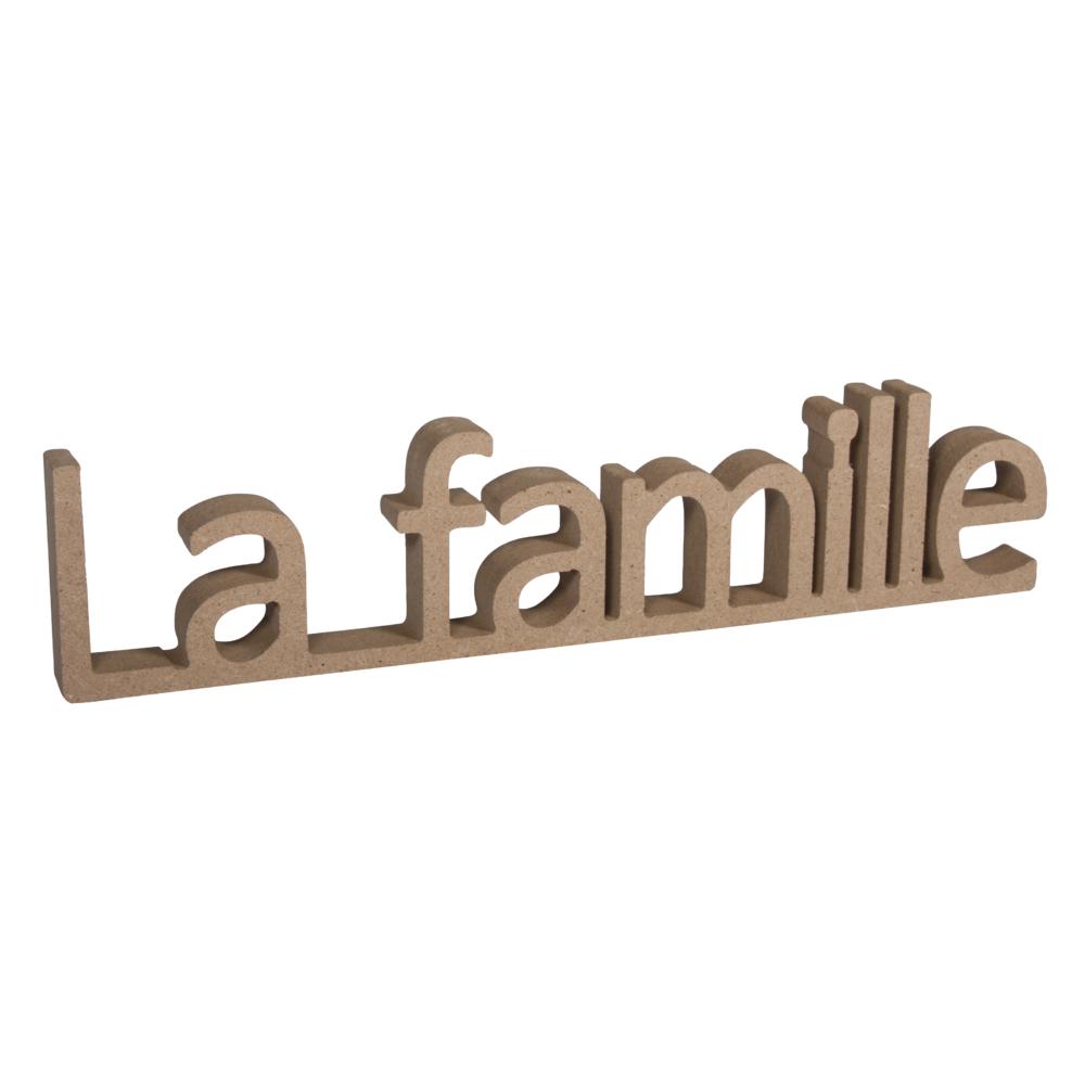 MDF Wort La famille,FSC Mix Credit, 25x1,5x5,5cm