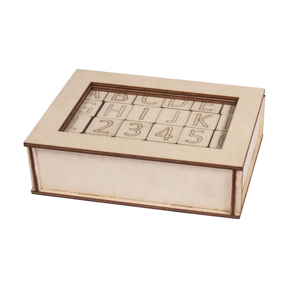 Holz-Buchstaben und Zahlen, FSC 100%, 2x2x0,4cm, Box 120Stück