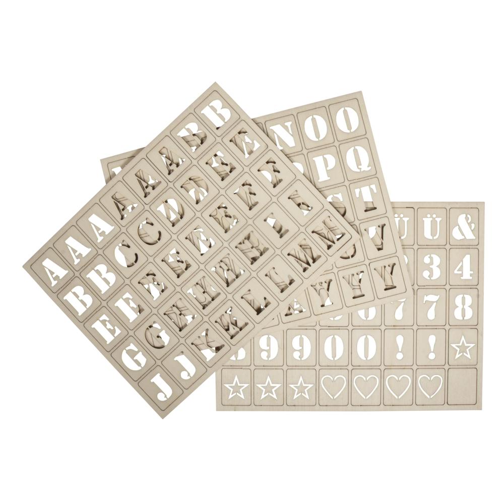 Holz Buchstaben für Letterboard, FSC100%, 3x2,4cm, Set 120Stück, natur