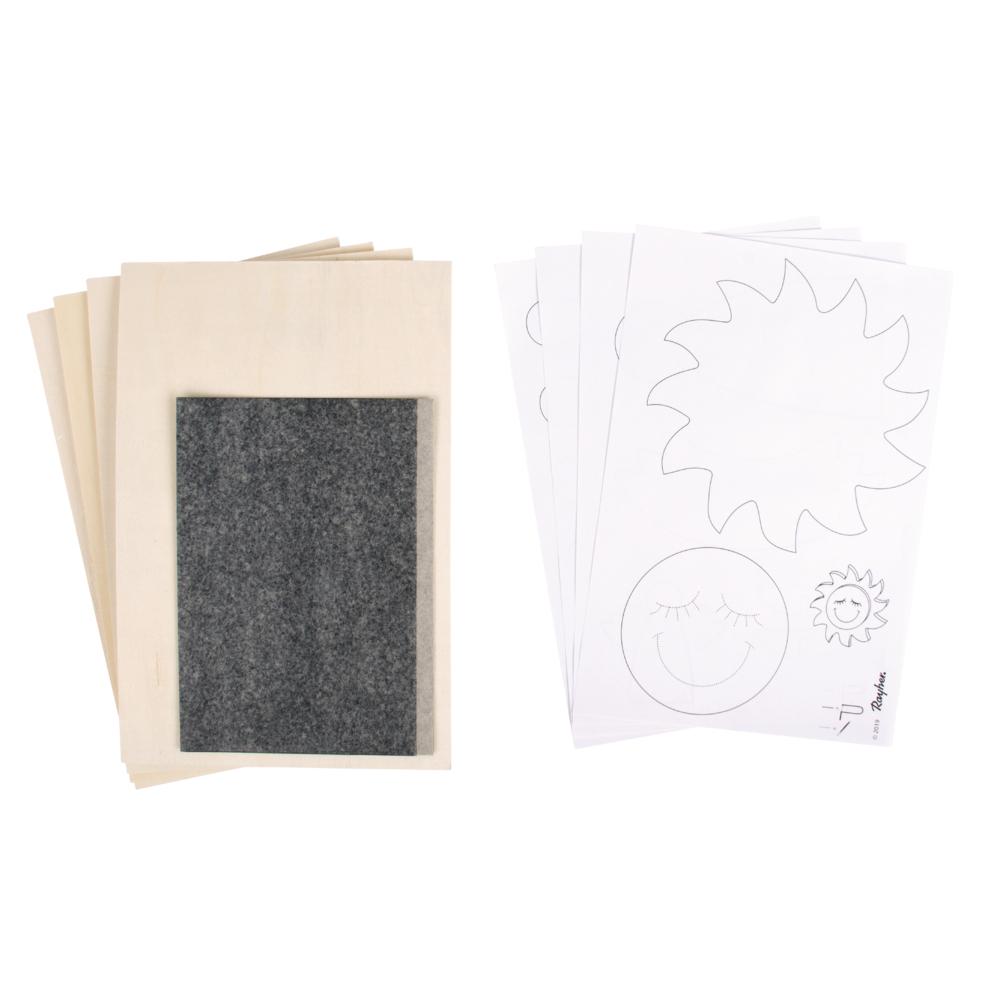 Sperrholzpl. m.Vorlagen-Sonne,Wolke,Co, 300x200x4mm, 4 Platten, Beutel 1Set, natur