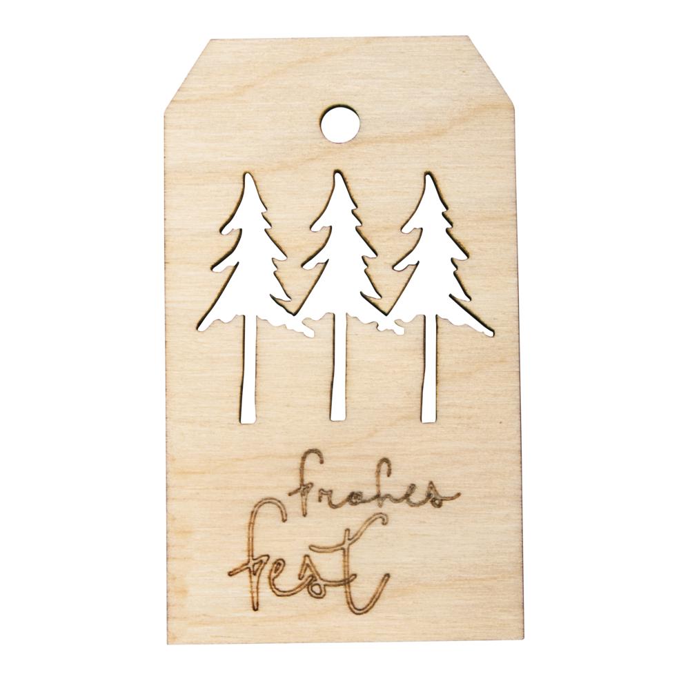 Holz-Anhänger Frohes Fest,FSCMixCred, 4,8x8,2cm, natur