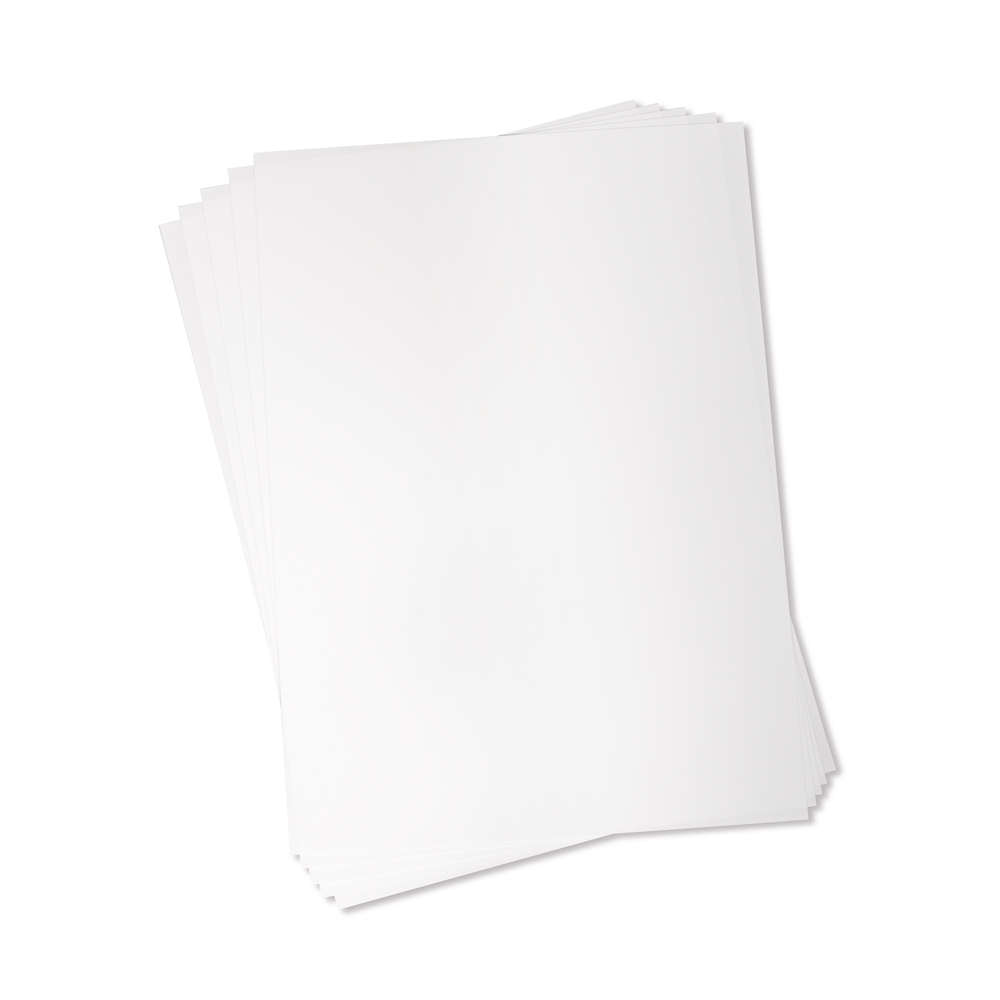 Schrumpfende Plastik-Folie A4, zum Beducken, SB-Btl. 5Stück, weiß