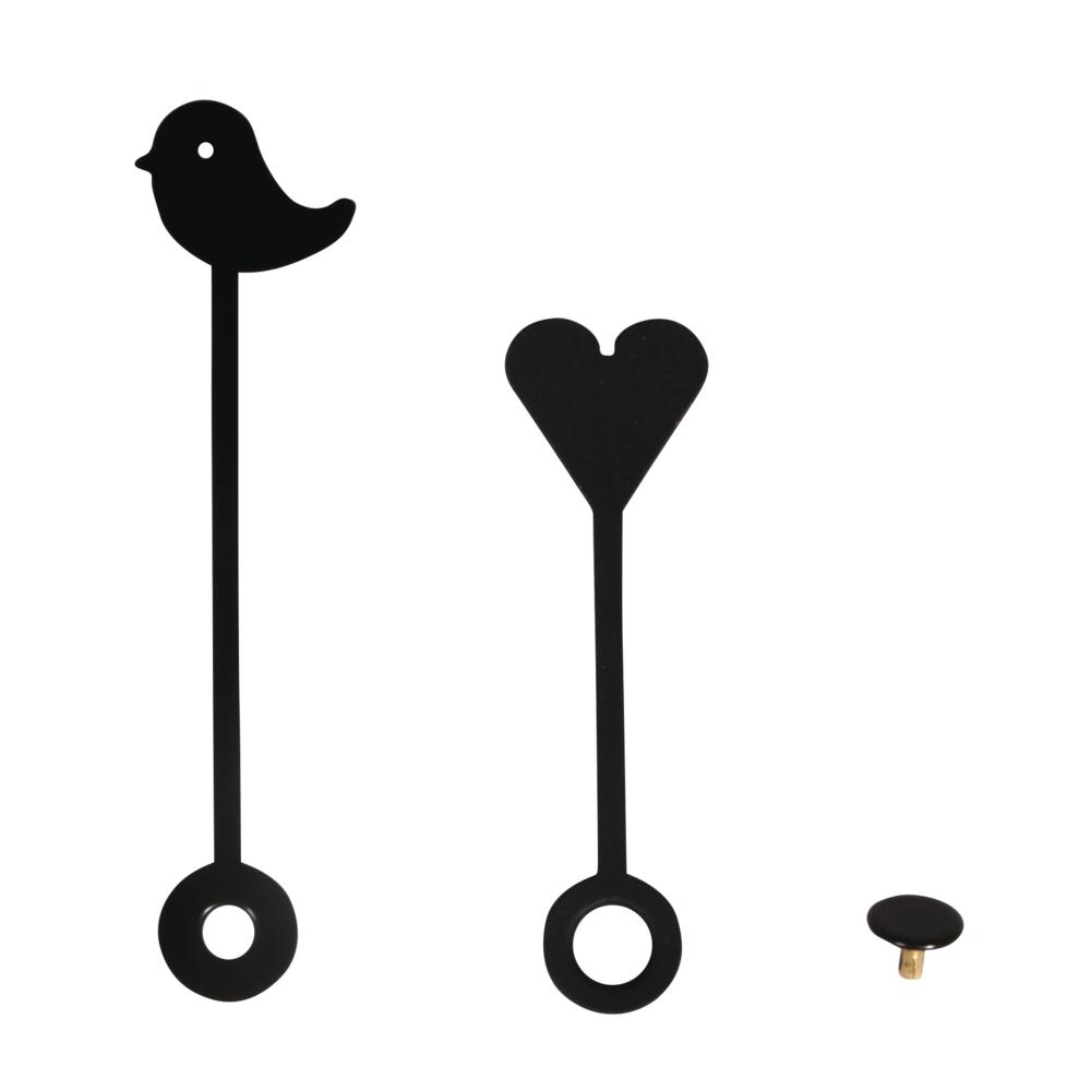 Uhrzeiger Herz und Vogel, 50mm/65mm,+ Abdeckkappe, SB-Btl. 1Stück, schwarz